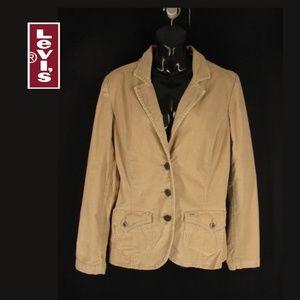 Levi Strauss Blazer Jacket L Khaki Beige Corduroy